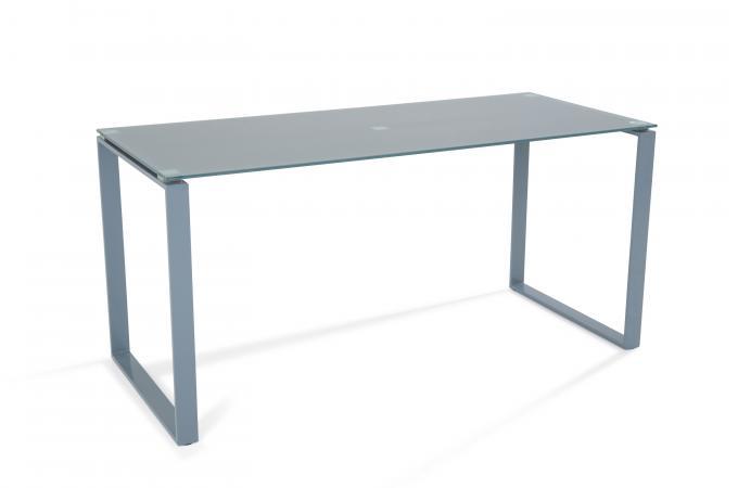 Bureau acier et verre gris 160cm etokia design sur sofactory - Bureau acier et verre ...