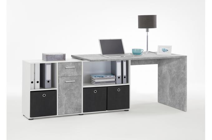 Bureau angulaire réversible gris béton blanc yfoum design sur