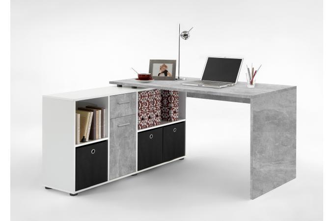 Bureau angulaire réversible gris béton blanc yfoum design sur sofactory