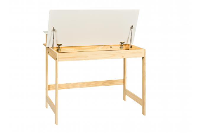 bureau avec coffre blanc et bois lucile - Bureau Blanc Et Bois