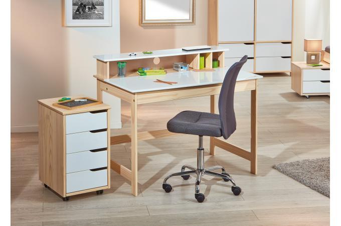 Bureau avec coffre blanc et bois lucile design sur sofactory