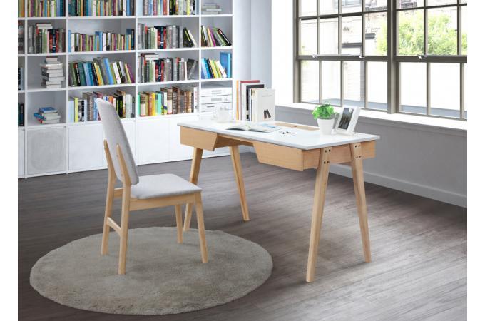 Bureau en bois blanc affordable cuisine blanc laqu et bois nieuwe