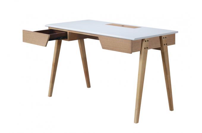 Bureau bois blanc 120 nyarf design sur sofactory