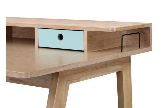 Bureau bois turquoise tiroirs niches popsy design sur sofactory