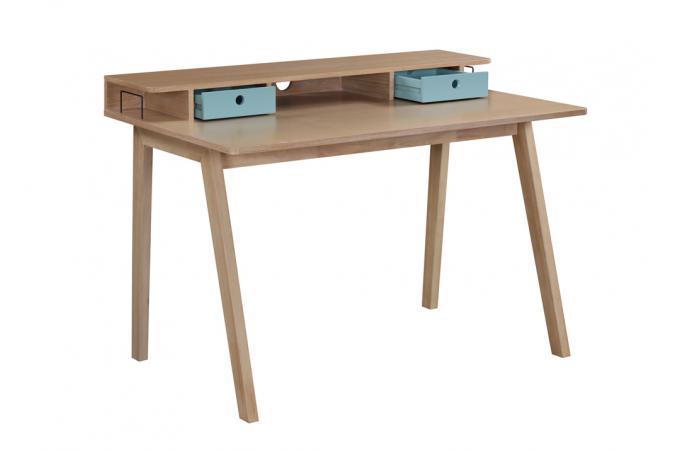 Bureau Bois Tiroir : Bureau bois turquoise 2 tiroirs 3 niches popsy design sur sofactory
