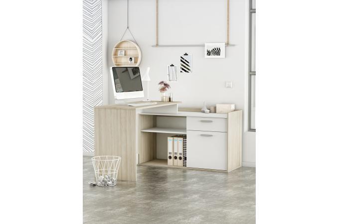 Bureau d angle porte niches chêne et blanc bazara design sur