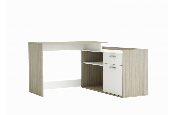 bureau d 39 angle 1 porte 2 niches ch ne et blanc bazara design sur sofactory. Black Bedroom Furniture Sets. Home Design Ideas
