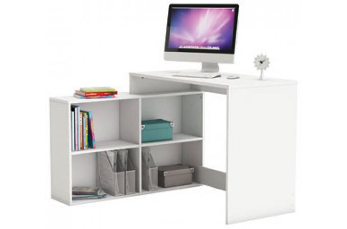 Bureau d'angle 4 niches blanc perle CINO