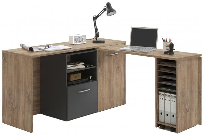 bureau d 39 angle r tractable avec rangements jill design pas cher sur sofactory. Black Bedroom Furniture Sets. Home Design Ideas