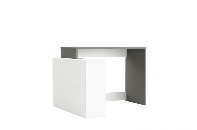 bureau d 39 angle blanc et gris bazara design sur sofactory. Black Bedroom Furniture Sets. Home Design Ideas