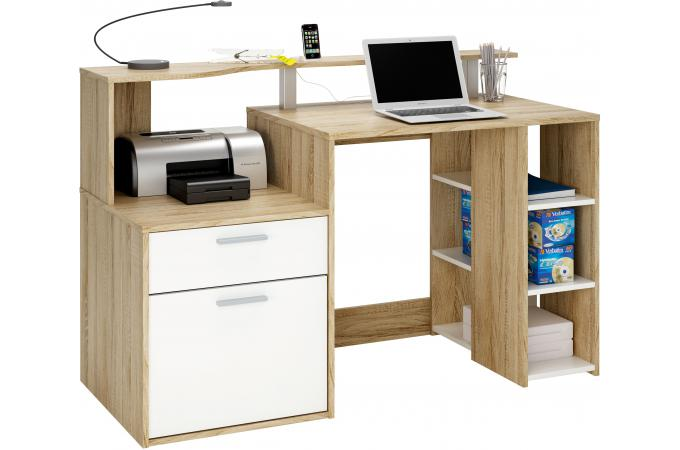 bureau multimedia bicolore avec rangements worklife design. Black Bedroom Furniture Sets. Home Design Ideas