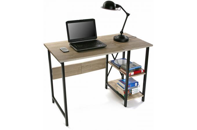 Bureau pliable industriel bois et m tal evamon design en for Bureau pliable