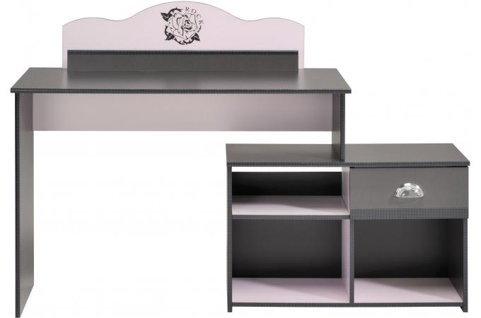 Bureau pour chambre enfant antracite et rose girly design sur