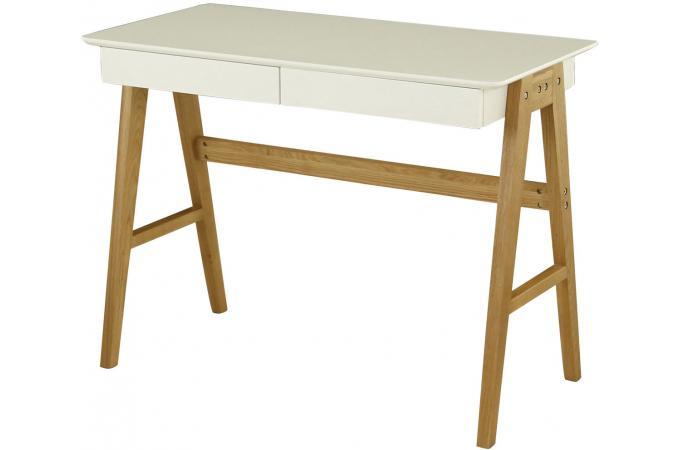 Bureau scandinave 2 tiroirs blanc magda design sur sofactory