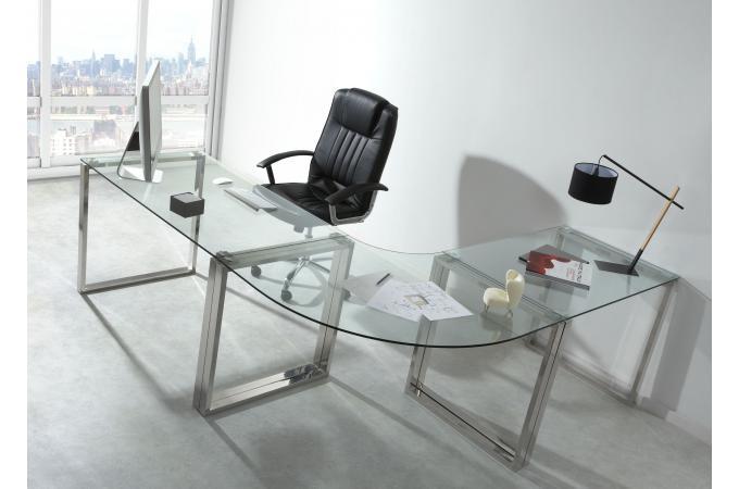 Bureau verre et métal cm wyoming design sur sofactory