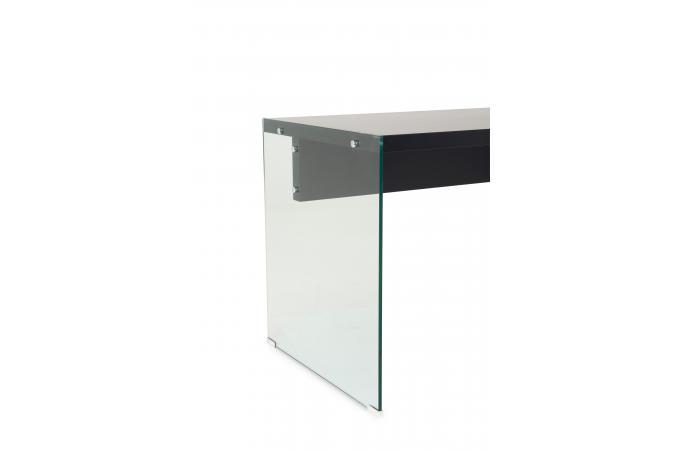 Bureau verre transparent et noir farah design sur sofactory