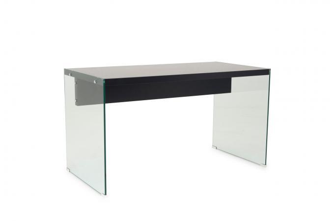 Bureau Noir Et Or : Bureau verre transparent et noir farah design sur sofactory