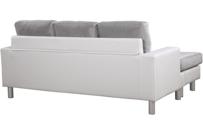 Canap angle bimati re blanc et gris modexa design sur - Petit canape d angle ...