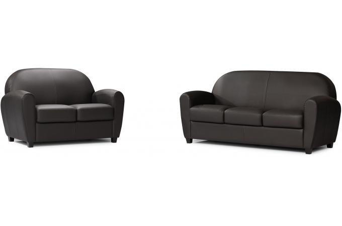 canap club 2 places noir patricia design sur sofactory. Black Bedroom Furniture Sets. Home Design Ideas