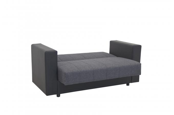 Canape Convertible 2 Places Gris Noir Queen Design Sur Sofactory