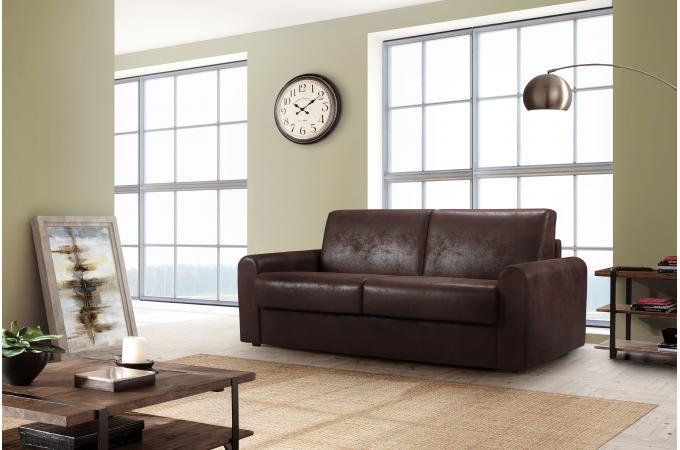 canap convertible express 3 places en tissu marron metara. Black Bedroom Furniture Sets. Home Design Ideas