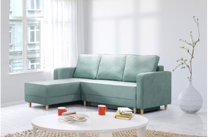 canap d 39 angle convertible tissu vert slice design sur sofactory. Black Bedroom Furniture Sets. Home Design Ideas