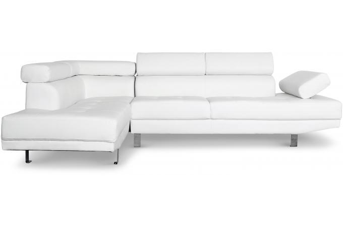 Canap d 39 angle droit blanc avec t ti re relevable tilpa for Canape avec tetiere