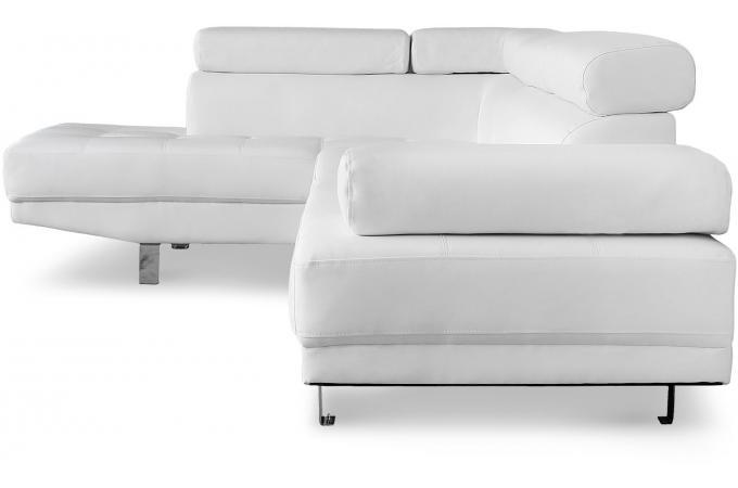 e258ef97c1bc1 Canapé d angle gauche blanc avec têtière relevable TILPA design sur ...