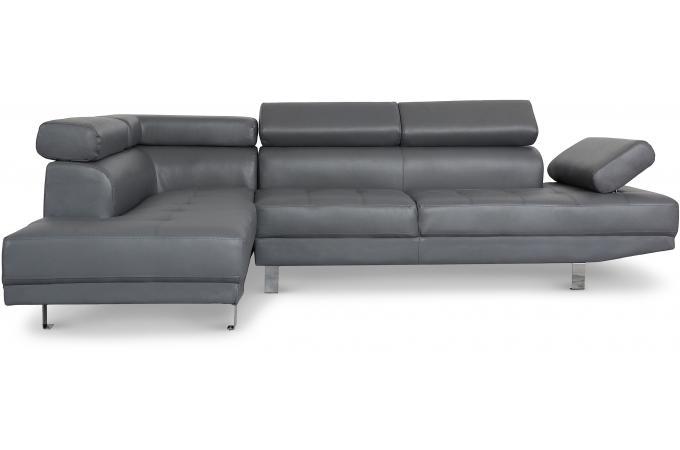 canap d 39 angle droit gris avec t ti re relevable tilpa. Black Bedroom Furniture Sets. Home Design Ideas