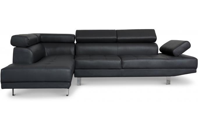 canap d 39 angle gauche noir avec t ti re relevable tilpa. Black Bedroom Furniture Sets. Home Design Ideas