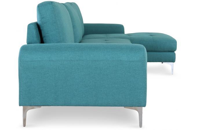 canap d 39 angle en tissu bleu vert albury design sur sofactory. Black Bedroom Furniture Sets. Home Design Ideas