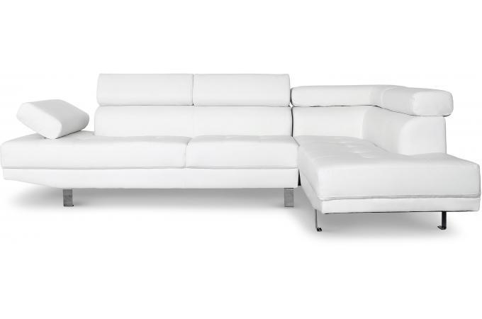 502003fb39b76 Canapé d angle droit blanc avec têtière relevable TILPA design sur ...