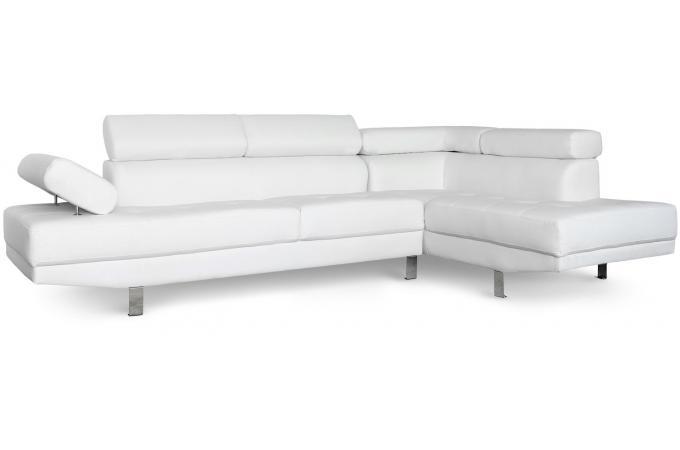 canap d 39 angle gauche blanc avec t ti re relevable tilpa design sur sofactory. Black Bedroom Furniture Sets. Home Design Ideas
