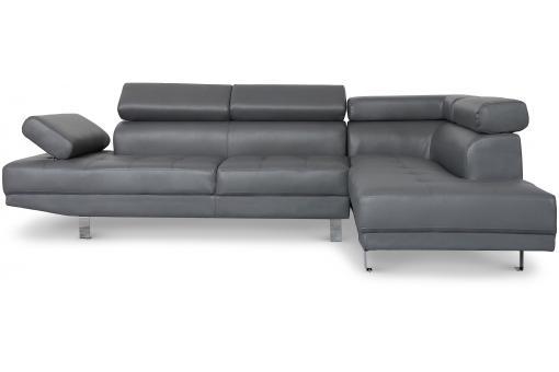 canap d 39 angle gauche gris avec t ti re relevable tilpa. Black Bedroom Furniture Sets. Home Design Ideas