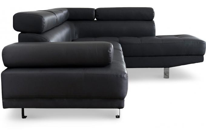 canap d 39 angle gauche noir avec t ti re relevable tilpa design sur sofactory. Black Bedroom Furniture Sets. Home Design Ideas