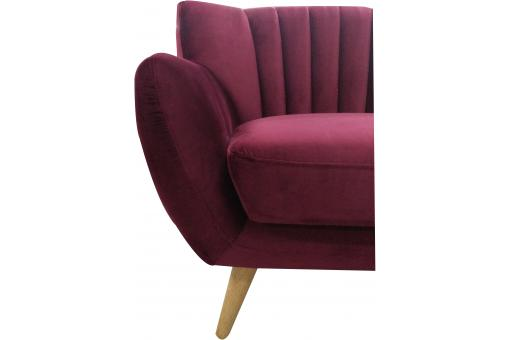Canapé scandinave 3 places en velours TIARA Bordeaux UN182860-68320