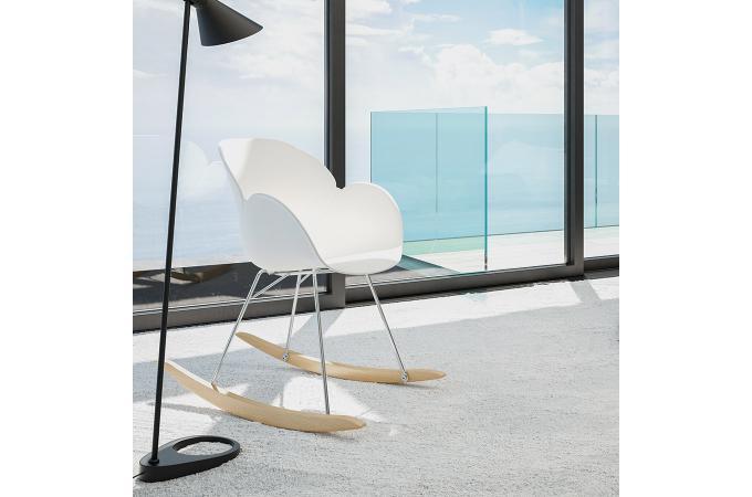 chaise bascule en plastique blanc rexton design sur sofactory. Black Bedroom Furniture Sets. Home Design Ideas