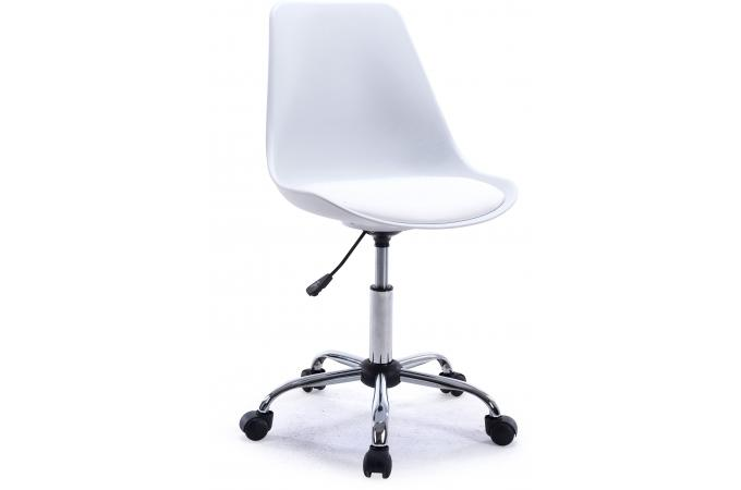Chaise de bureau r haussable blanche alena design en for Chaise simili cuir blanche