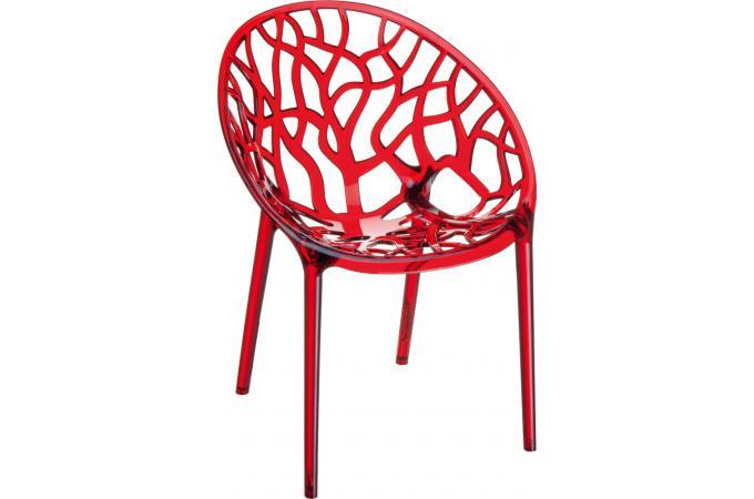 Chaise Design Rouge Transparente CEYLAN