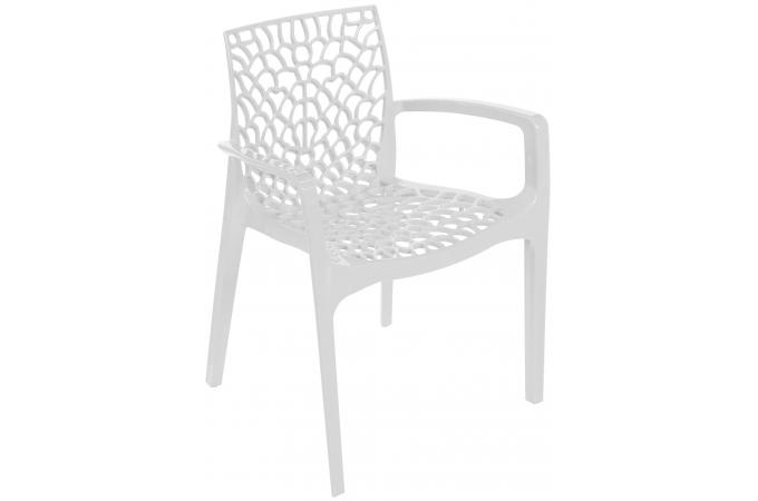 Chaise Design Blanche Avec Accoudoirs FILET