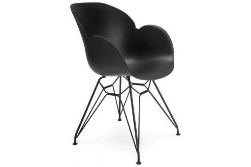 Chaise design en plastique noir eden design sur sofactory for Chaise plastique noir