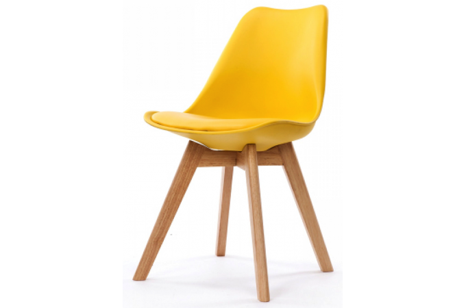 Chaise design style scandinave jaune sweden design sur for Chaise jaune design