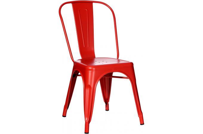 Chaise m tallique coloris rouge tee design pas cher sur sofactory for Chaise factory rouge