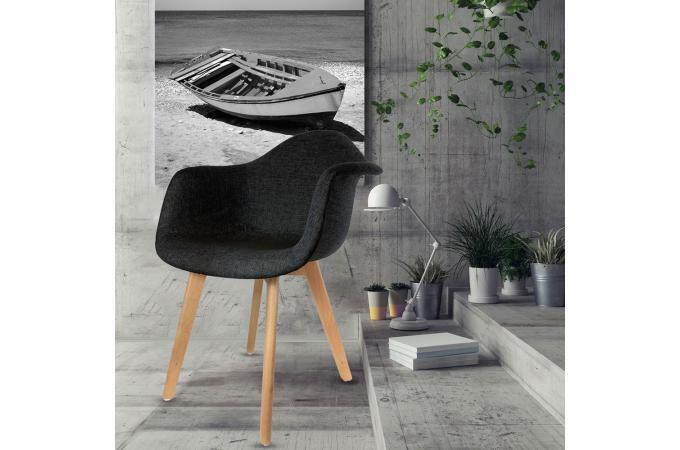 En Accoudoir Scandinave Tissu Noir Norway Avec Sur Chaise Design Ygf7vb6y