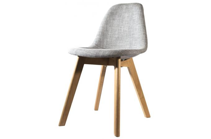Chaise scandinave en tissu grise norway design en direct - Chaise grise tissu ...