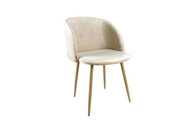 chaise scandinave velours beige rinala - Chaise Scandinave Beige