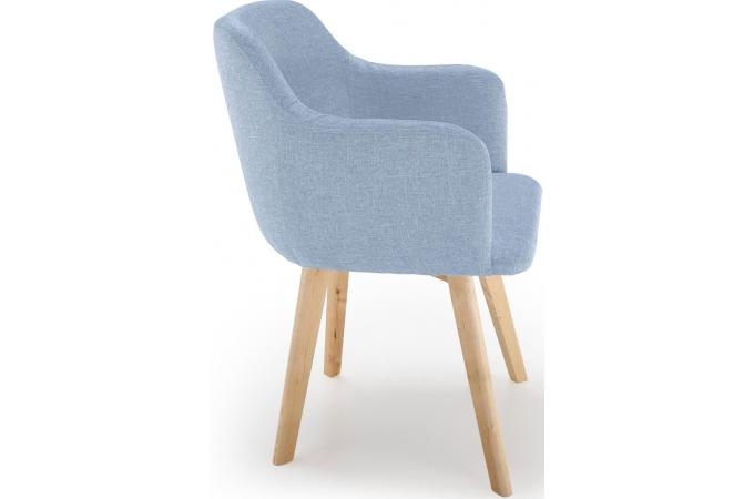 chaise scandinave tissu bleu crush - Chaise Scandinave Bleu