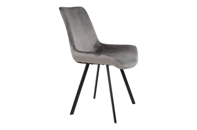 Chaise Velours Gris TORVALD