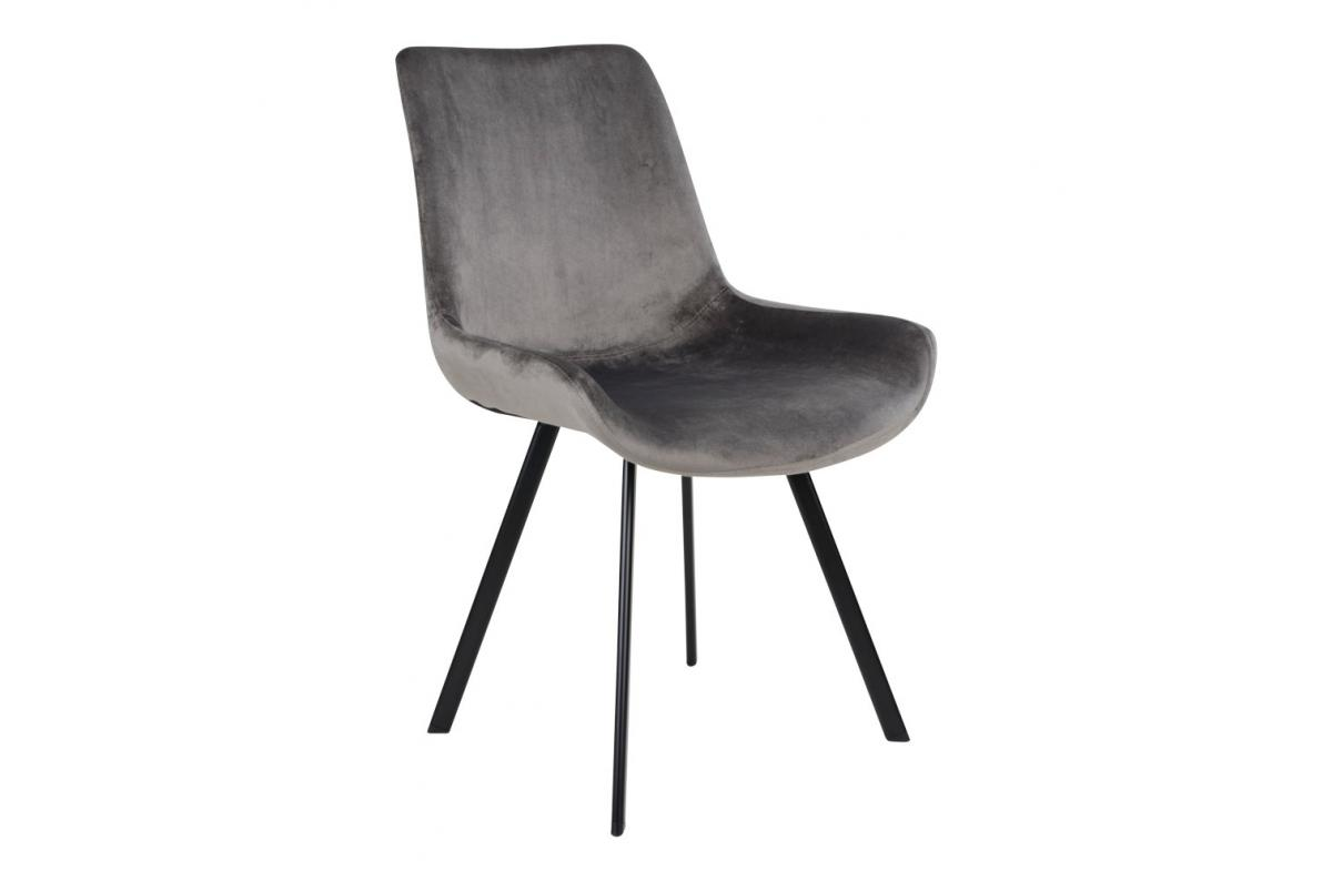 Chaise Velours Gris TORVALD SoFactory