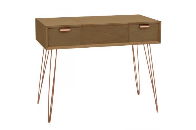 Bureau bois et cuivre 2 tiroirs blues design sur sofactory
